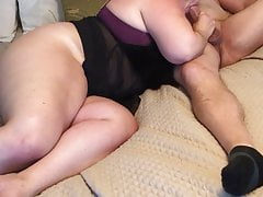 Bbw wife fucks and cums twice in front of cuck hubby