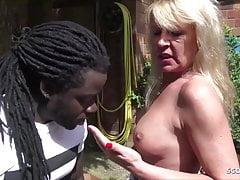German MILF Cougar Tina Seduce Huge Black Boy Fuck in Garden