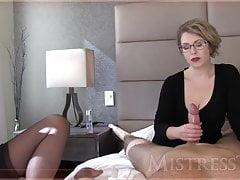 Mistress T jerks a dick